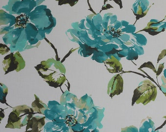 Two 20 x 20  Custom Designer Decorative Pillow Covers - Large Floral - Spa Blue/Citrine Green/Grey