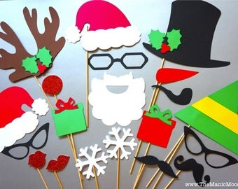 Family Photo Christmas Props - 20 piece set - GLITTER Photobooth Props - Ultimate Holiday Collection - Santa and Friends