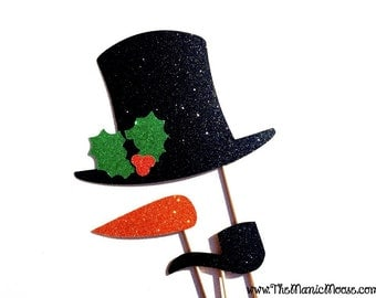 Christmas Photo Booth Props - 3 piece set of GLITTER Photobooth Props - Frosty the Snowman