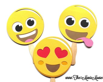 Photo Booth Props ~ Set of 3 Large Emoji Photo Booth Props ~ Emoticon Photo Props