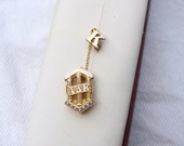 Alpha Delta Kappa sorority pin vintage solid 10K gold w/ K pin and chain womens educator