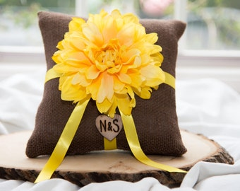 Yellow Flower Ring bearer pillow with matching ribbon You personalize with choice of flower