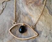 Cobalt Blue Evil Eye Necklace 14K Gold Fill and Cobalt Blue Quartz Made To Order