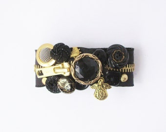 Black and Gold Zipper Bracelet