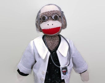 Sock Monkey Doctor, Sock Monkey Scientist, Doctor Doll, Monkey Doctor, Doctor Is In, OOAK Doctor Doll, Sock Doctor
