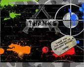 Paintball Thank you Card, Guns Combat and Camo, Paintball Party Thank you Note
