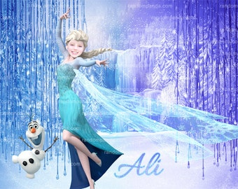 Personalize Kids Poster, Elsa Wall Art, Frozen Poster