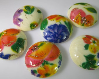 6 Vintage 18mm Spring Floral Multi Color Decal Cabochons Cb74