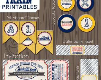 Vintage Train printables, Train birthday printables, Train invitation, Train theme birthday party