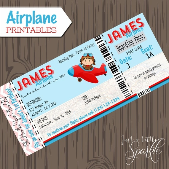 Airplane Ticket Boarding Pass Birthday Invitation: Pilot Invitations Cards-DIY, Lil Pilots, Airplane Birthday