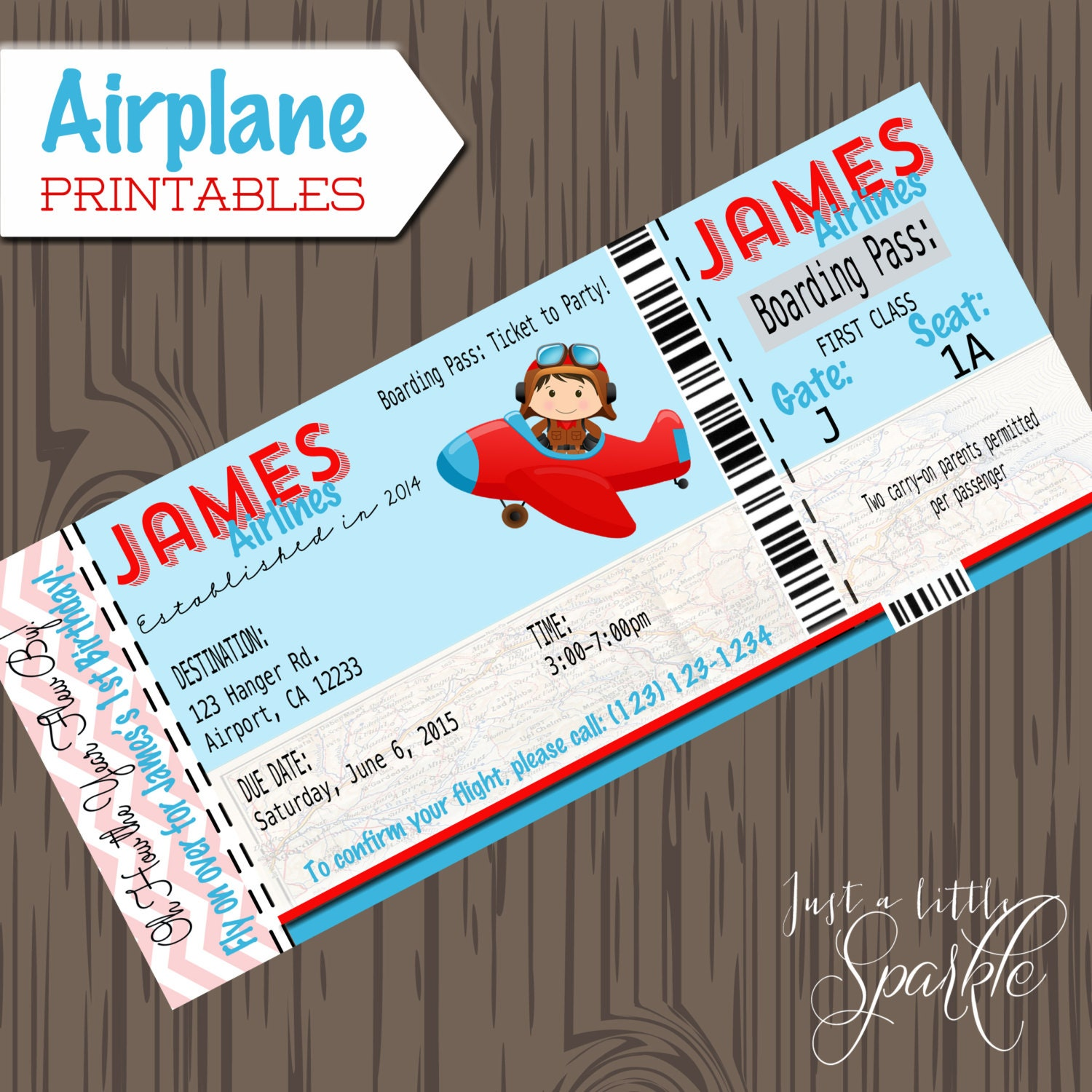 Pilot Invitations cards-DIY lil pilots airplane birthday