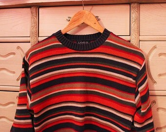 Vintage striped Warm Colors cozy sweater