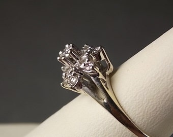 1950s Diamond Flower Ring .65 Carats White gold 14K 2.88 gm size 6 Engagement Ring