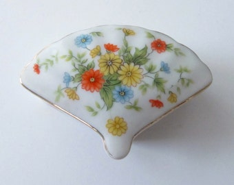 Vintage Lefton Fan Shape Trinket Box Orange Yellow Daisy Daisies Flowers Japan