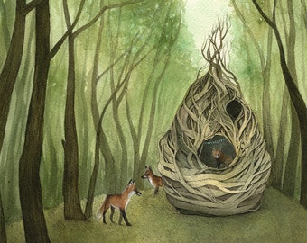 Home I // 8x10 Art Print - Forest Illustration