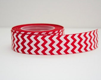 Red Chevron Print 7/8in Grosgrain Ribbon - 1yd