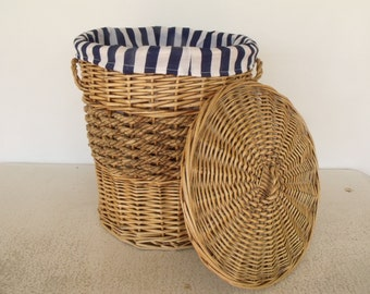 "18""h Large Basket Woven Wicker with Lid and Striped Liner"