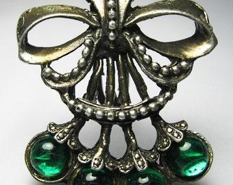 Dress Clip - Vintage Rhinestone Dress Clip - Green Rhinestone Dress Clip