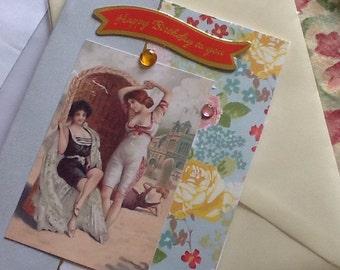Vintage style edwardian seaside ladies scene birthday card with verse
