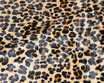 "Hair On 8""x10"" New Version Leopard CAMEL BLACK and BROWN Soft hoh Cowhide 4.5-5oz / 1.8-2 mm PeggySueAlso"