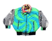 Trippy 80s J. Gallery Psychedelic Checkerboard Puffy Flight Jacket - S / M