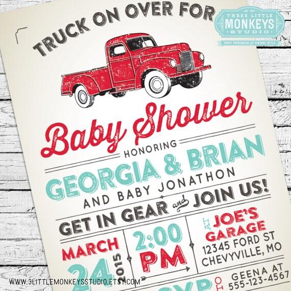 truck shower vintage truck baby shower invitation