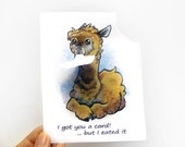 Cute Alpaca Card, Funny Greeting Card, Personalized Art Card, Blank Card, Thinking of You, Happy Birthday, Brown Alpaca, Blue and White Card