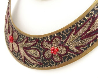 Vintage Embroidered Collar Necklace, Edwardian Style, Victorian Style Choker, Estate Jewelry