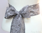 Pewter Gray Lace Wedding Sash/ Flower Girl Sash/ Handmade Accessory