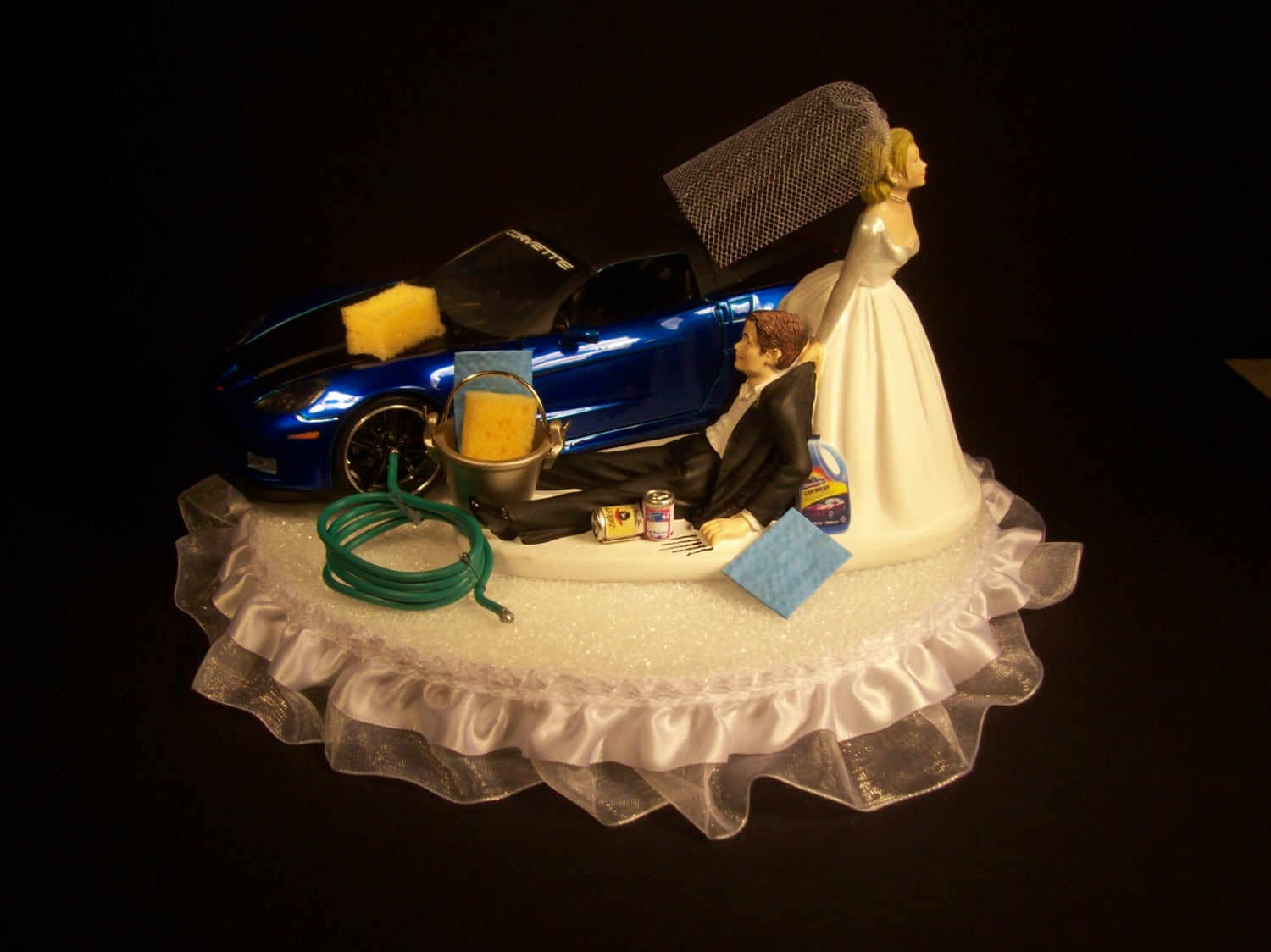 AUTO CAR Wash 2006 Corvette Z06 Blue Funny Wedding Cake Topper