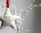 first Christmas star ornament, personalized first Christmas ornament, custom ornament, babys first Christmas ornament, name year ornament