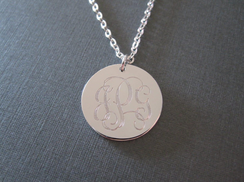 white gold laser engraved monogram necklace 4 different