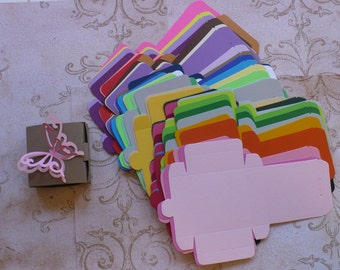 Rainbow Colors Bitty Box Die Cut pieces made using Stampin Up die You Make / Fold yourself DIY Crafts Small Jewelry Candy Boxes