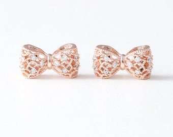 CZ Volume Rose Gold Bow Stud Earrings Silver Post - rose gold bow earrings, rose gold bow jewelry, rose gold bow studs