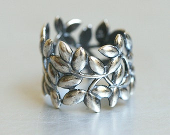 Oxidized Olive Leaf Band Ring Sterling Silver