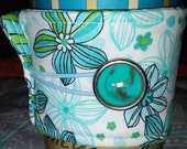 Coffee Cozy, Bright & Fun Fabric, Blue/Aqua, Green Flowers with Cool Vintage Teal Button, PRETTY!