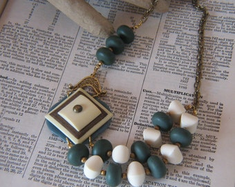 Vintage Statement Necklace - Repurposed Belt Buckles - Ivory and Slare Blue Vintage Beads and Gold Tone Chain