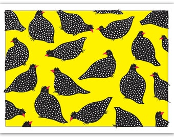 Blank Card with Envelope – Guinea Hens