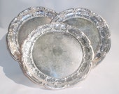 3 Silver Plated Serving Trays