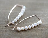 14k Gold Fill Wire Earrings, White Freshwater Pearls, Wire Wrapped, Minimalist Jewelry