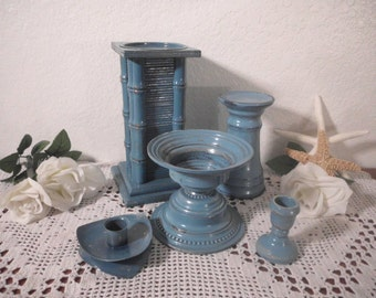 Aqua Turquoise Teal Blue Shabby Chic Candle Holder Set Beach Cottage Tropical Island Coastal Seaside Nautical California Florida Home Decor