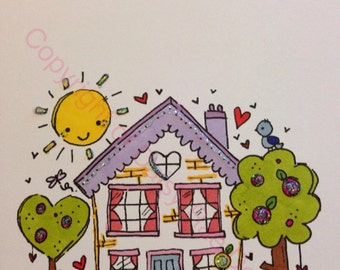 New Home Card Handcoloured Personalised originally designed by Daisy Rae Design