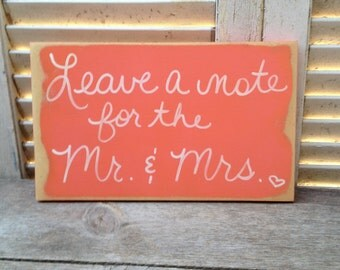 Coral and White Leave A Note For The Mr. and Mrs. Wedding Sign, Wooden Coral Wedding Signage, Wedding Notes Sign