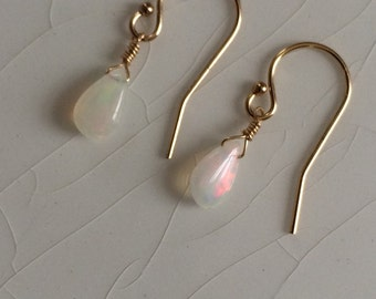 20% off plus Free Shipping - Tiny, Smooth Welo/Fire Opal Pear/Briolette Drop Gold-Filled Dangle Earrings