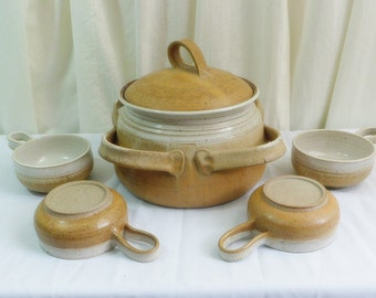 Vintage stoneware pottery chili  or soup set. Hand made and signed