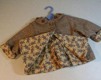 Repurposed suit coat/infant swing coat-baby girl-sock monkeys-lined jacket-1940s style-hand embellished