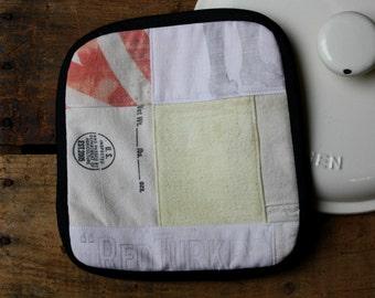 Pot Holder, Vintage Flour Sack Scraps , Black, Red, Pale Yellow, Ticking, Feed Sack, Flour Sack, Hot Pad
