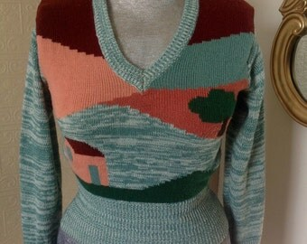 Wonderful vintage sweater with house motif!