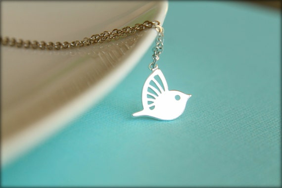 Modern Hummingbird Necklace, Available in Silver and Gold