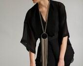 multi strand Fringe fabric necklace-Long drop necklace - statement fabric necklace - long fringe textile necklace - black friday sale